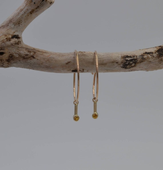 14k Yellow Gold Hoops with Yellow Sapphire Dangles