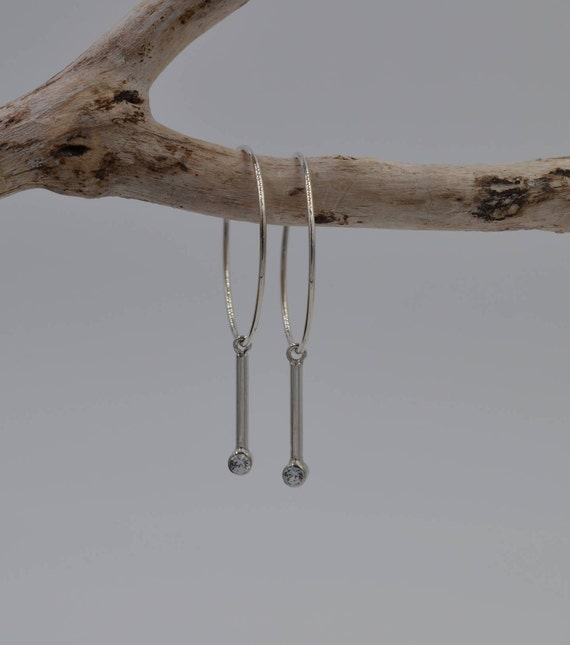 Sterling Silver Wire Hoops with White Sapphire Dangles