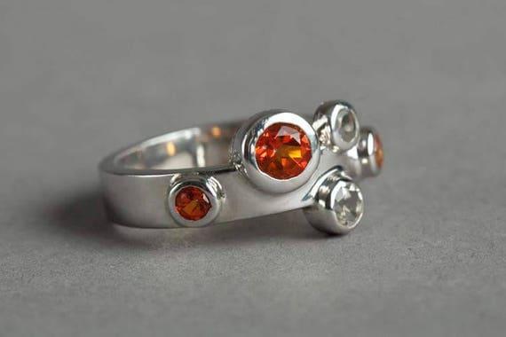 Orange and White Topaz Ring in Sterling Silver
