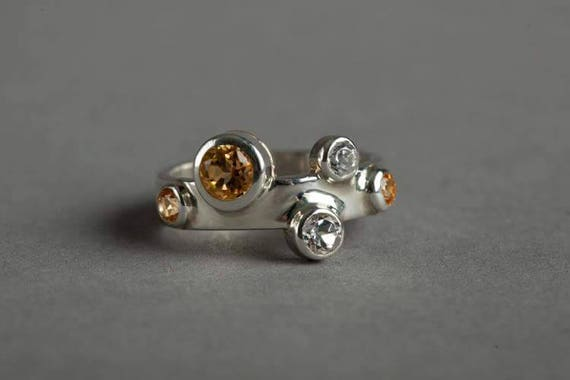 Yellow and White Topaz Ring in Sterling Silver