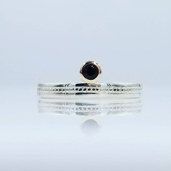 Sterling Silver Band with an offset Black Spinel