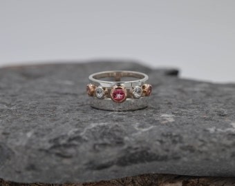 Double Band...Open Space Gemstone Ring