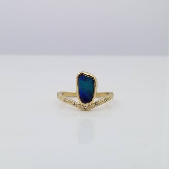 14k yellow gold Boulder Opal and Diamond Chevron ring