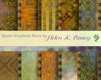 Digital Scrapbook Paper Set, Bordered Brown and Gold
