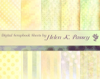 Digital Scrapbook Paper Set, Pastel Yellow