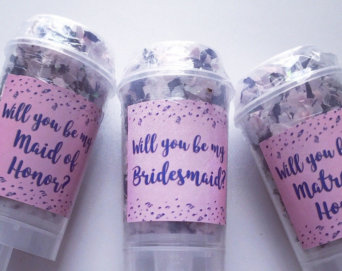 Custom Will You Be My Bridesmaid / Maid of Honor Confetti Poppers - Set of 5
