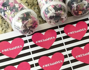 Set of 5 - #We Said Yes Confetti Poppers - Party Favors - Engagement Announcement