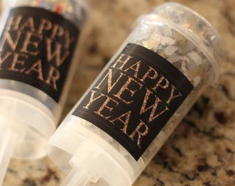Happy New Year Confetti Poppers / Party Favors / New Year's / 2018 / Party Poppers / New Year's Eve / Set of 5