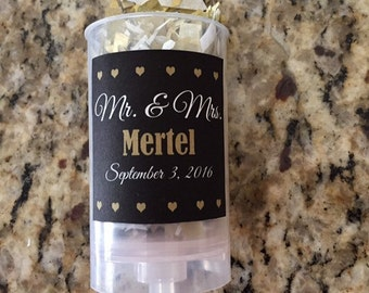 Set of 5 - Custom Wedding Confetti Poppers - Party Favors -  Mr. and Mrs.