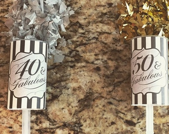 Set of 5 - 40th / 50th & Fabulous! Milestone Birthday Confetti Party Favors - Celebration!