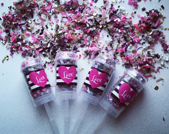 KATE SPADE - L O V E Confetti Poppers / Party Favors / Party Poppers / Custom Confetti