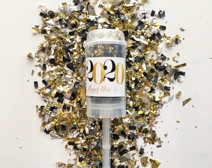 White 2020  New Year Confetti Poppers