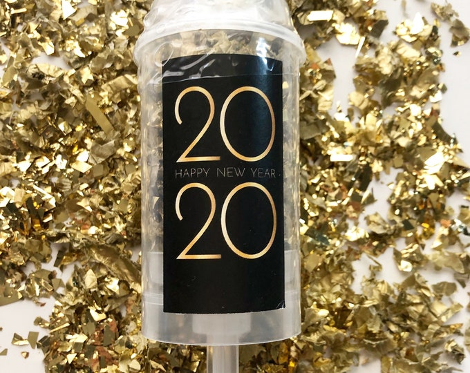 Black & Gold 2020 New Year Confetti Poppers