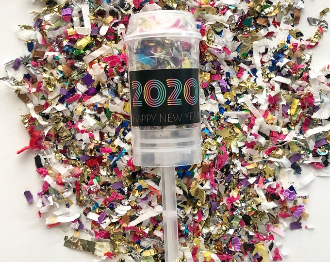 Colorful 2020 New Year Confetti Poppers