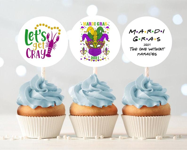 Printable Virtual Mardi Gras Party / Cupcake Toppers / Set of image 0