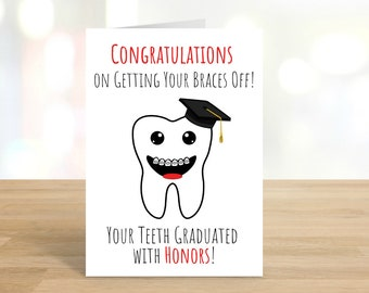 Printable Congratulations on Getting Your Braces Off / Congratulations Card / Greeting Card / Braces / Teeth / Red / DIGITAL DOWNLOAD