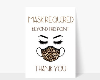 Printable Mask Required Beyond This Point Tan Sign / Mask Sign / Mask Required / Door Sign / Business Sign / Window Sign / Storefront Sign