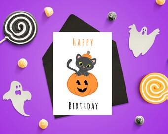 Printable Card/ Birthday Card / October Birthday / Happy Birthday / Halloween / Halloween Card / Halloween Birthday / DIGITAL DOWNLOAD