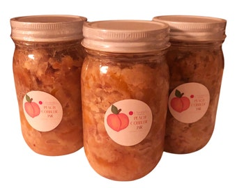 Peach Cobbler / Jars / 3-Pack  / 8 oz jars / Peach Pie / Half Pan / Cobbler / Dessert / Peach Dessert / Cobbler Jar / Peach Pie