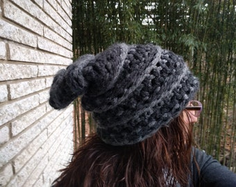 Chunky Gray Thick Winter Crochet Adult Mens and Womens Slouch Hat