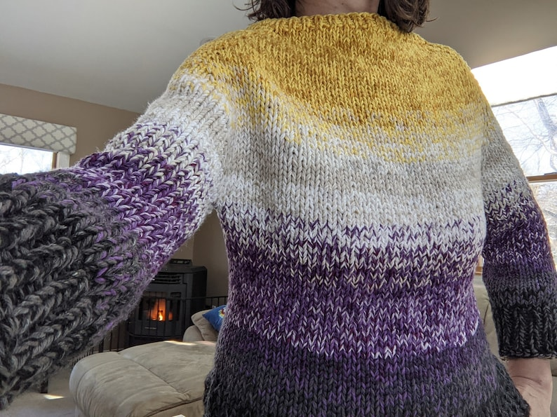 READY to SHIP  Nonbinary Enby Knit Sweater Shirt Top in image 0