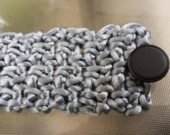 Satin Cord Gray Formal Cuff Bracelet Festival Crochet Vegan Sophisticated Metallic Silver Black Buttoned