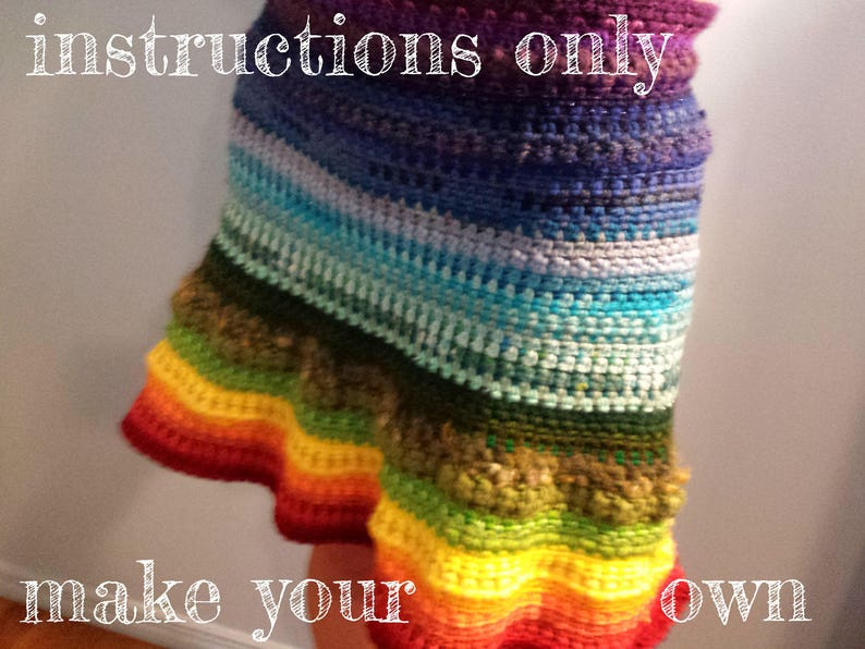 INSTRUCTIONS ONLY  Crochet your own Rainbow Stashbuster Wrap image 0