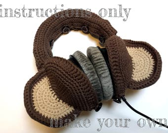 INSTRUCTIONS ONLY - Crochet your own Monkey Ears Cotton Headphones Cover Dj Cozy Pattern Download