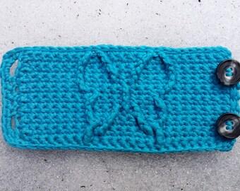 Butterfly Cables Aqua Blue Cuff Bracelet with Buttons Festival Crochet Nature Vegan Elf Pixie