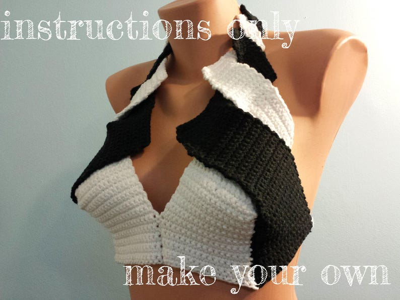 INSTRUCTIONS ONLY  Crochet your own Black and White Cotton image 0