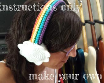 INSTRUCTIONS ONLY - Crochet your own Rainbow With Clouds Cotton Headphones Cover Dj Cozy Pattern Download