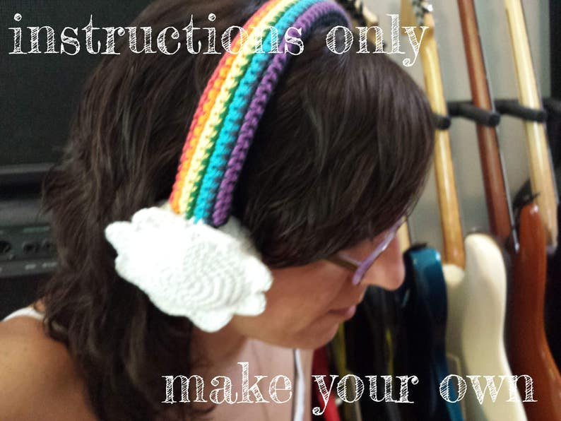 INSTRUCTIONS ONLY  Crochet your own Rainbow With Clouds image 0