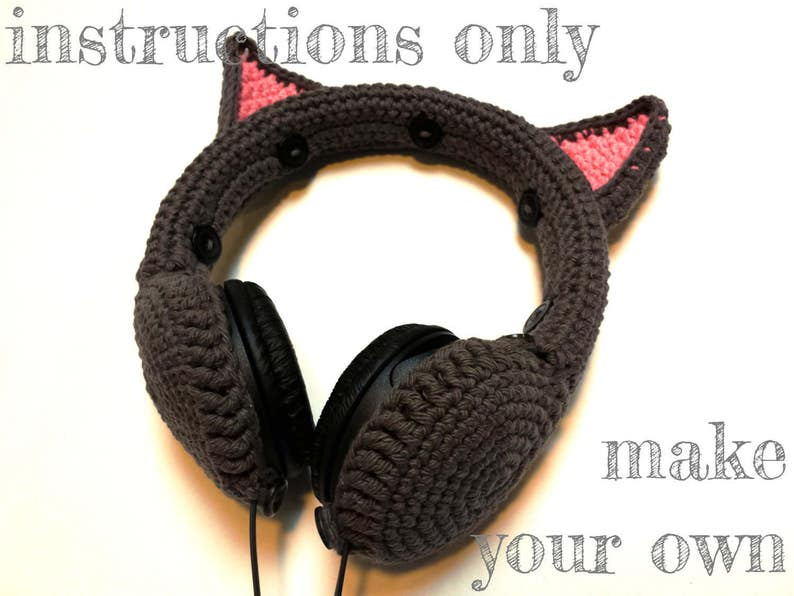INSTRUCTIONS ONLY  Crochet your own Cat Ears Headphones Cover image 0