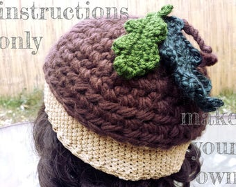 INSTRUCTIONS ONLY - Crochet your own Acorn Hat with Leaves for Adult Size Forest Pixie Elf Nature Lover Pattern Download