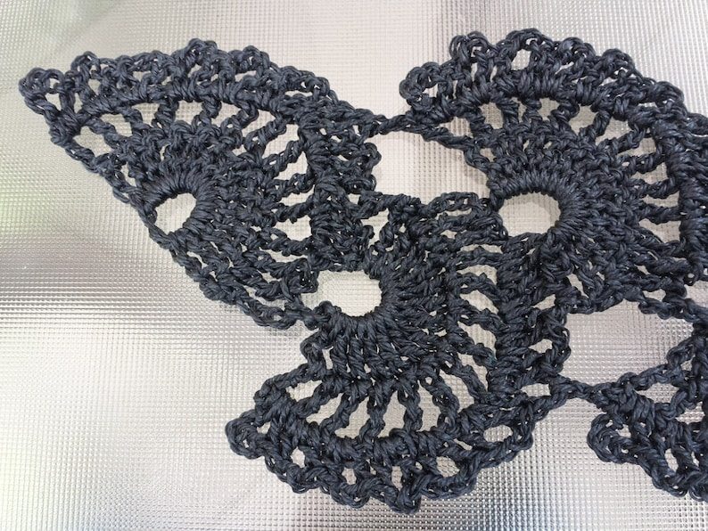 Black Fans Waxed Nylon Victorian Queen Anne's Lace Crochet image 0