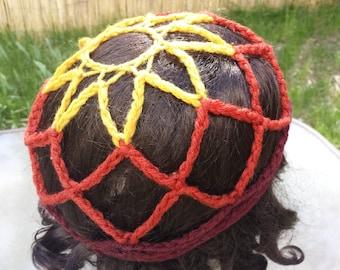 Openwork Gypsy Spirit Forest Tribe Festival Crochet Hat Cap Summer Sun Beach Vegan Web Net Mesh Yellow Orange Red