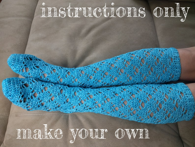 INSTRUCTIONS ONLY  Crochet your own Openwork Knee High Socks image 0