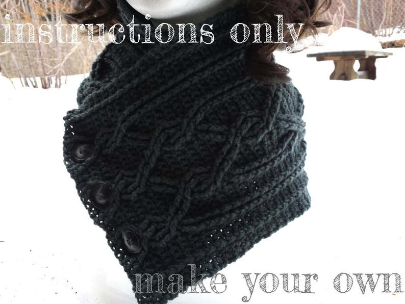 INSTRUCTIONS ONLY  Crochet your own Cables Sampler Neckwarmer image 0