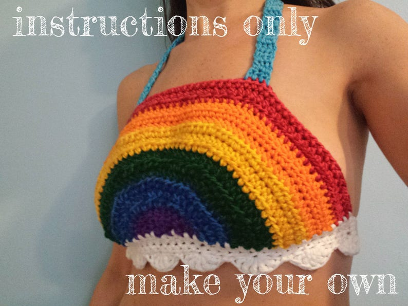 INSTRUCTIONS ONLY  Crochet your own Rainbow With Clouds Fun image 0