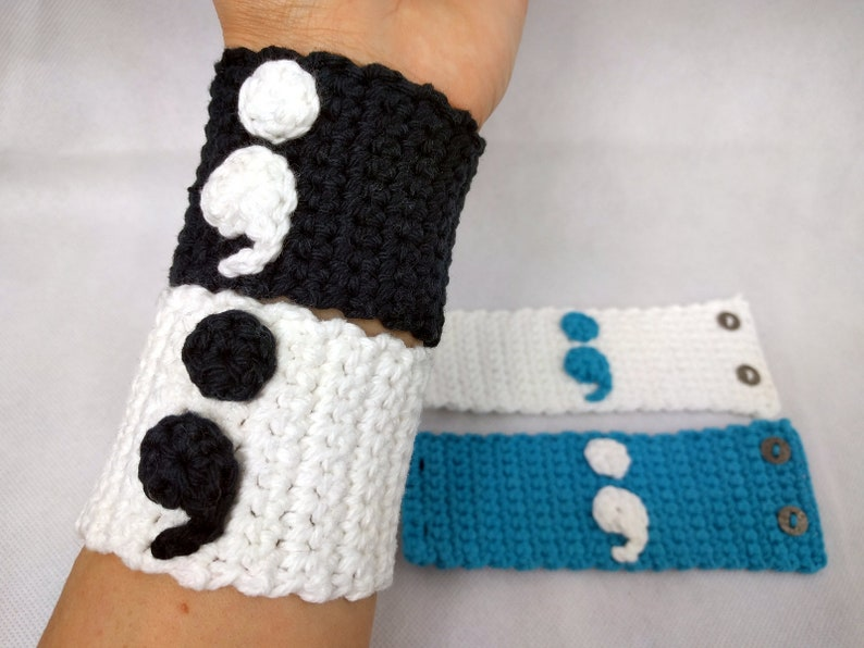 Semicolon Cuff Bracelet Vegan Crochet 100% Cotton with four image 0