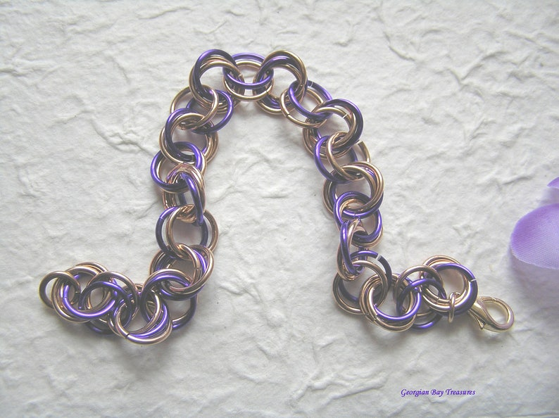 Purple and bronze bracelet chainmaille antique gold spring summer fashion jewellery handmade gift under 20 gift for her GBT282