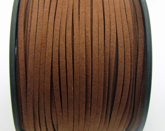 3mm flat faux suede leather cord,sienna brown,3X1.5mm,1-5yards