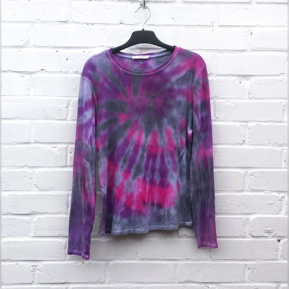Black Purple Pink Goth Tie Dye Long Sleeve T shirt ALL SIZES