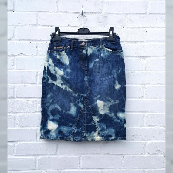 Upcycled Denim Midi Skirt Bleached UK 14  US 10