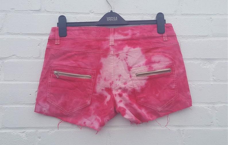 Upcycled Red Tie Dye Denim Shorts UK 12  US 8