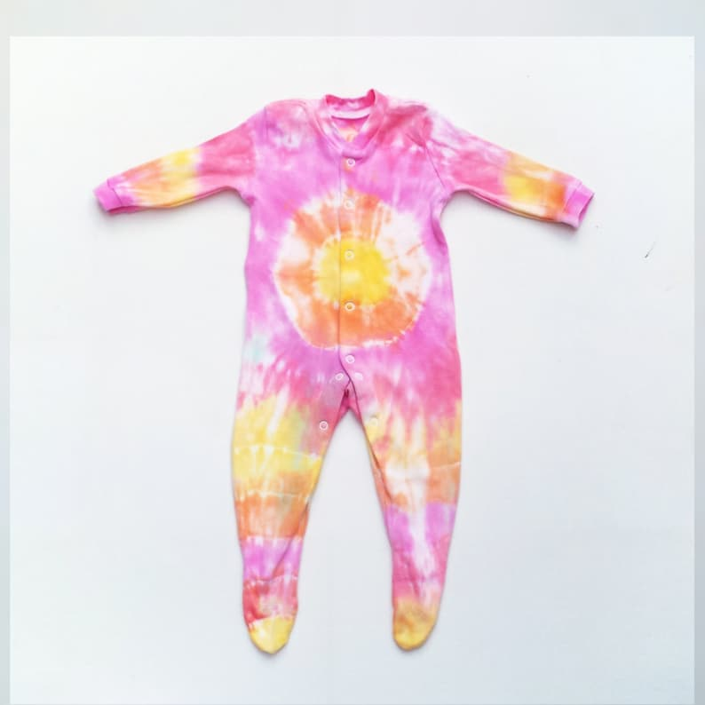 7512ea8a2689 Tie Dye Baby Sleepsuit Romper Orange Yellow   Pink ALL SIZES