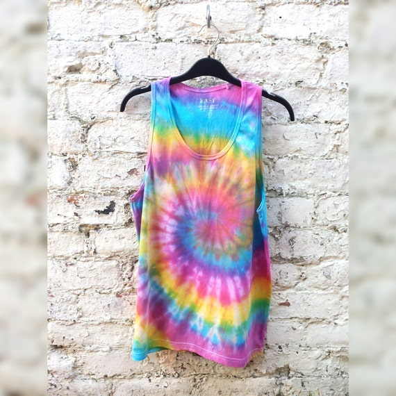 0d06d426f85ac1 Rainbow Tank Tie Dye Mens Tank Top Rainbow Spiral Tie Dye ALL