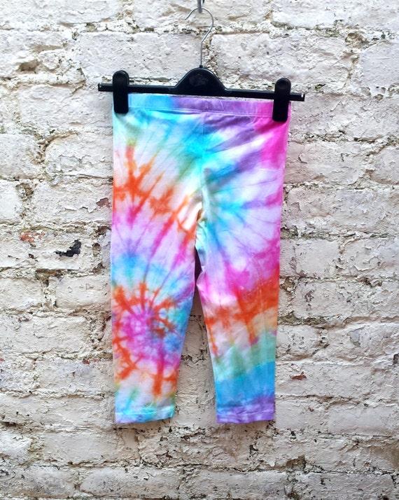 8a9dce6832 Rainbow Leggings Tie Dye Yoga Leggings to fit size S 3/4 | Etsy
