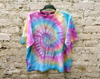 Hippie Pastel Rainbow Tie Dye Shirt Unisex Tshirt ALL SIZES AVAILABLE Festival Fashion Boho Pastels Hippy Clothing Fashion