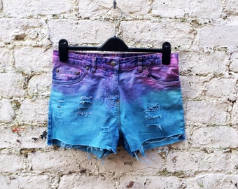 Pastel Grunge Denim Short Pink & Turquoise Ripped Denim Cut Off Jean ALL SIZES Summer Festival Shorts Clothing Dyed Denim